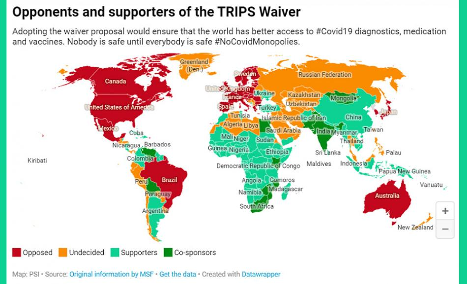 TRIPS WAIVER Covid Vaccines MAP