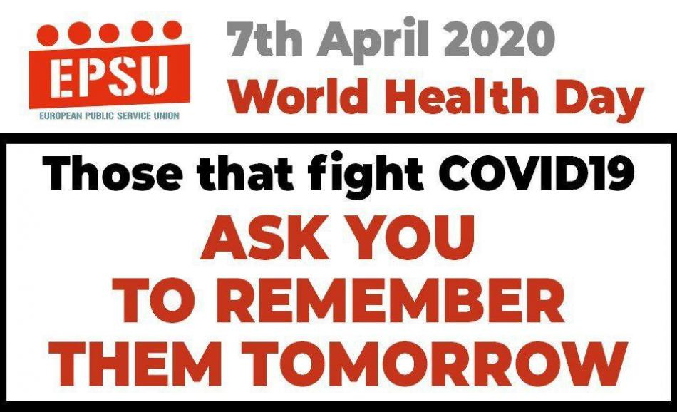Those that fight COVID-19 ask you to remember them tomorrow - EPSU logo