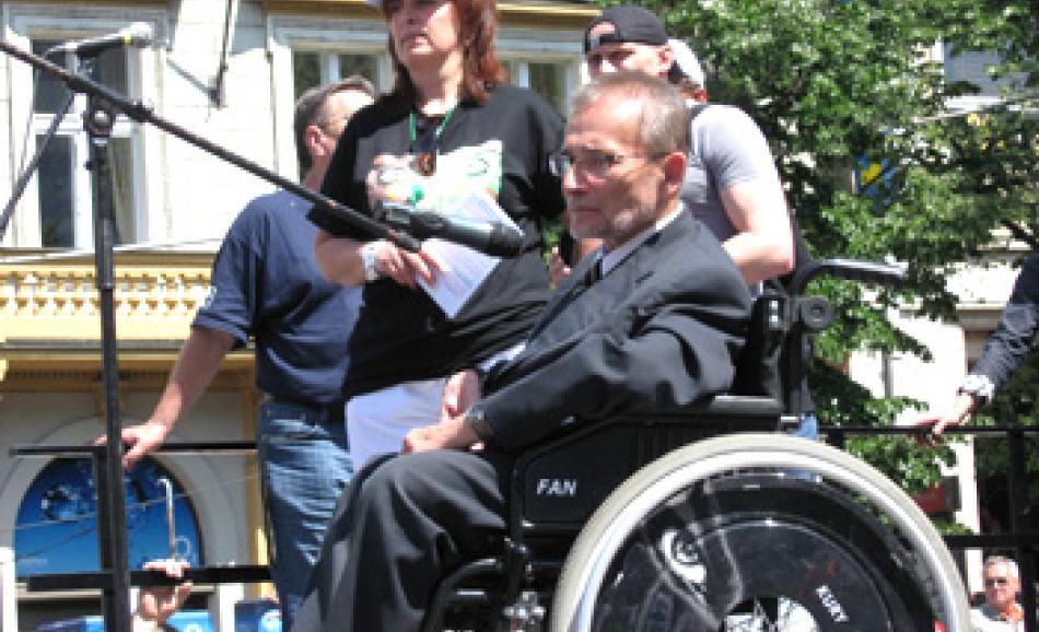 campaigners for the rights of disabled people also supported the demonstration