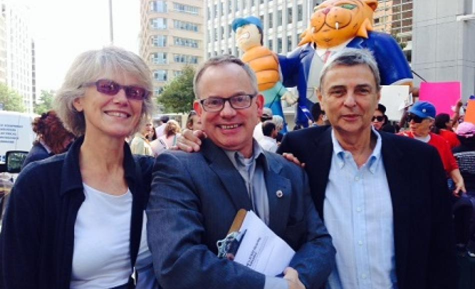 Penny Clarke, EPSU Deputy General Secretary, Mike Dolan Teamsters union and Dave Prentis, PSI President and UNISON General Secretary