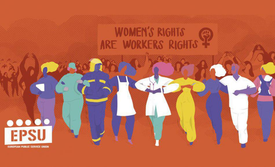 Women's rights workers rights EPSU logo