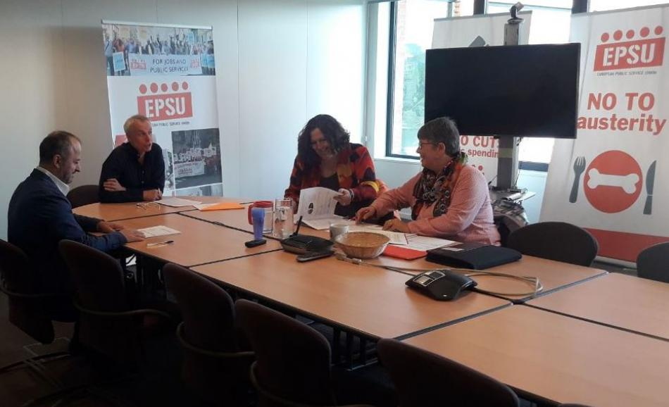 17 April 2019, annual control of EPSU finances by the EPSU Member Auditors Martine Ugolini, CGSP, Belgium and Catherine Blanc, CFDT-Interco, France.