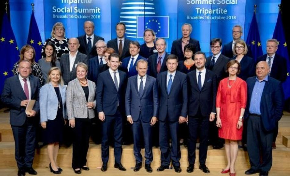 Family picture Tripartite Social Summit, Brussels, 16 October 2018