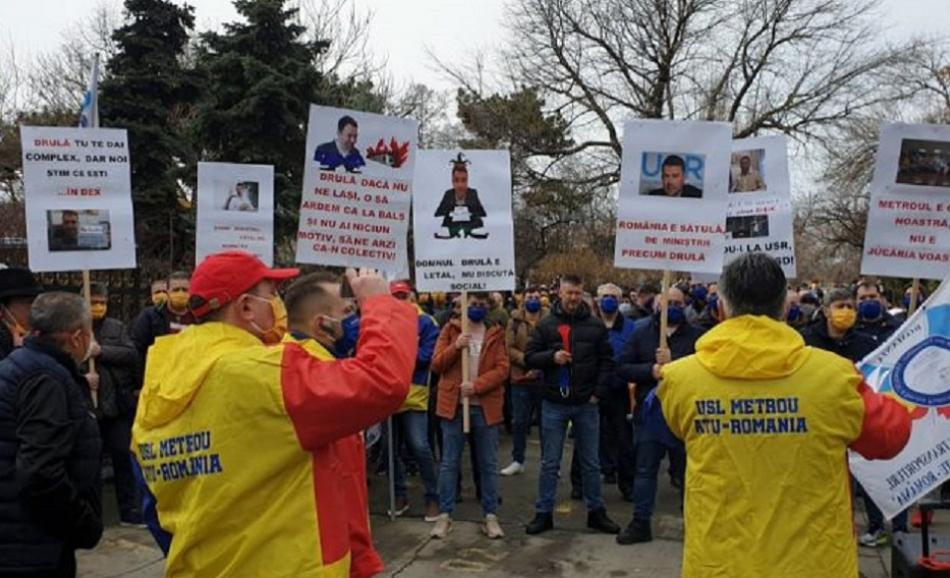 Romanian union USLM protest picket Ministry of Transport