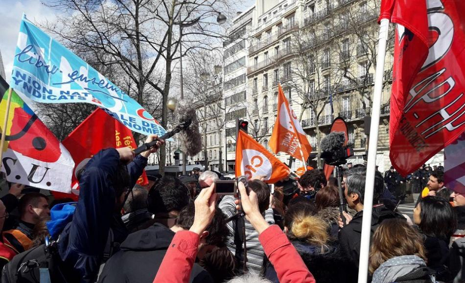 Demonstration and strike action, France,  care workers, 15 March 2018