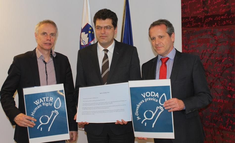 EPSU General Secretary Jan Willem Goudriaan with the Slovenian Permanent Representative Janez Lenarčic and MEP Igor Soltes 22.03.2017