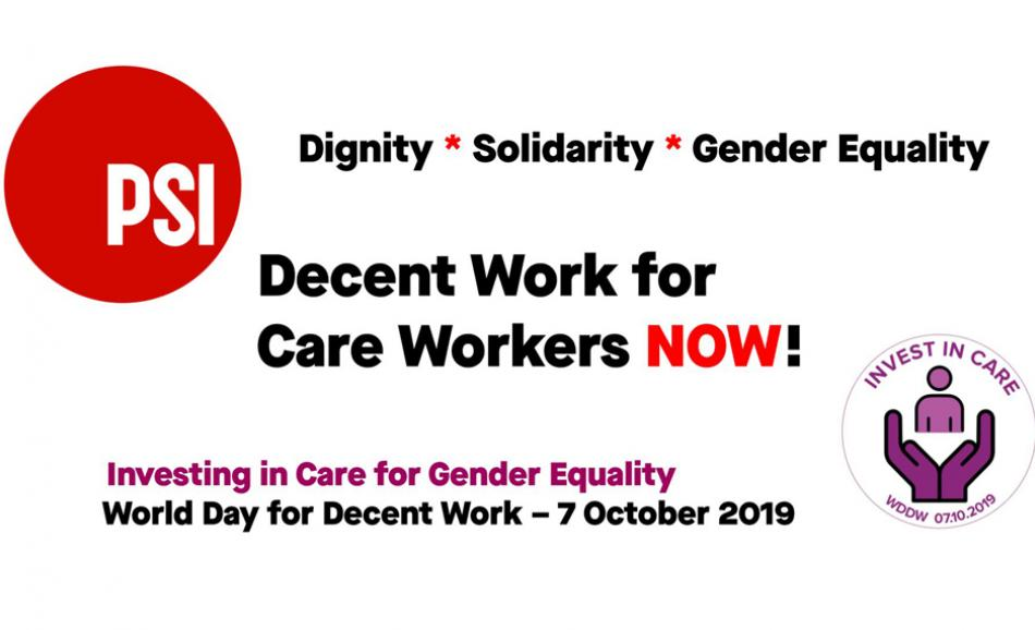 World Day for Decent Work 2019 PSI banner